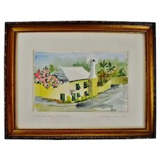 Vintage Framed Featherbed Alley Print Shop Watercolor Painting - Artist Signed