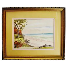 Vintage Framed Seascape Watercolor Painting - Artist Signed