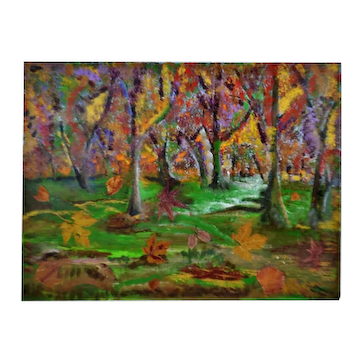 Vintage Large Oil on Canvas Landscape Painting w/ Natural Leaf Applique - Artist Signed