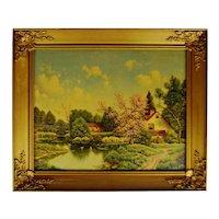 Vintage Gilt Framed Landscape Print on Textured Board