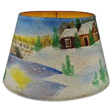 Vintage Folk Art Hand Painted Grass Cloth Lamp Shade - Artist Signed