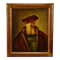 Authentic Golden Age Style Oil on Canvas Portrait Painting by Dutch Master Artist Edgar Kooi - Artist Signed