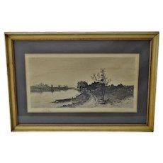 Antique Framed Remarque Landscape Engraving - Signed