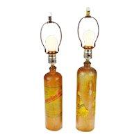 Pair of Early German Doornkaat Schnapps Salt Glaze Stoneware Bottle Lamps