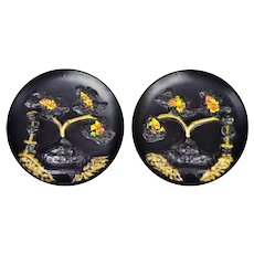 Vintage PGH Statuary Co. Chalkware Asian Wall Plaques - A Pair