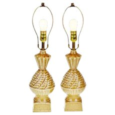 Pair of Vintage Ceramic Glazed Table Lamps