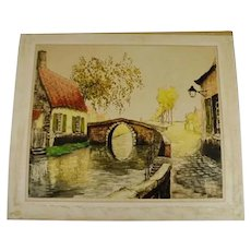"Vintage 1933 Sidney Lucas European Village Scene Aquatint Etching Signed De Beauvais 25"" x 21"""