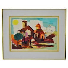 Vintage Riva Helfond Limited Edition Village Watercolor Lithograph - Artist Signed