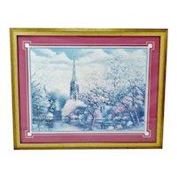 Vintage Framed Sambataro Church Steeple Print