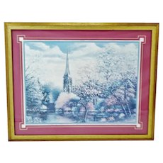 Vintage Framed Sambataro Church Steeple Print