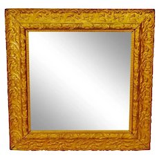 Antique Framed Carved Wood Gold Painted Square Mirror