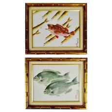 Vintage Framed Asian Fish Prints - A Pair