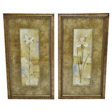 Vintage Framed Silvia Vassileva Floral Still Life Prints - A Pair
