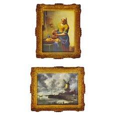 Vintage Gilt Framed Dutch Masters Style Canvas Prints - A Pair