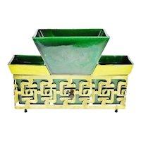 Mid Century Asian Style Pottery Planter TV Lamp