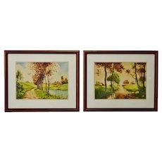 Vintage Framed Paris Etching Society Signed Landscape Prints - A Pair