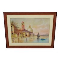 Early Framed Mixed Media Pastel and Watercolor Landscape on Board