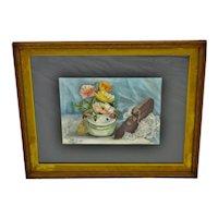 Vintage Framed Still Life Watercolor Painting - Artist Signed