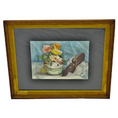 Vintage Framed Still Life Watercolor Painting - Artist Signed