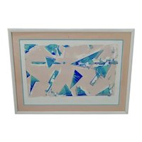 Vintage Framed Limited Edition Pastel Colored Signed Geometric Abstract Lithograph