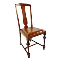 Antique Quartersawn Oak T Back Leather Upholstered Side Chair