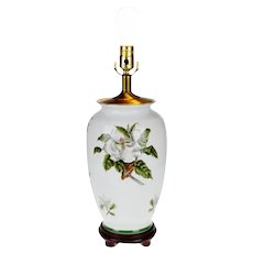 Vintage Asian Style Hand Painted Porcelain Table Lamp