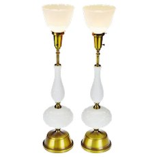 Mid Century Milk Glass Rembrandt Torchiere Table Lamps - A Pair