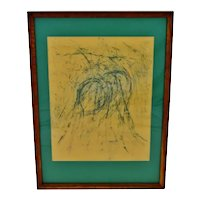 Vintage Framed Pastel Abstract Drawing - Artist Signed