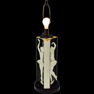 Art Deco Ceramic 3 Sided Figural Ballerina Design Table Lamp - Signed