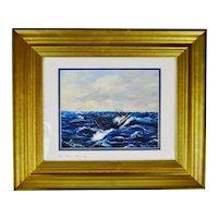 Vintage Framed Nova Scotia Seascape Lithograph - Artist Signed