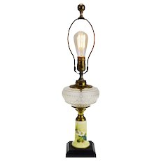Vintage Electrified Oil Lamp with Yellow Porcelain Column Base