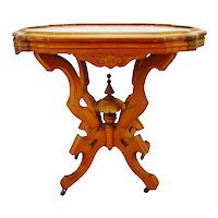 Antique Victorian Eastlake Style Marble Top Table