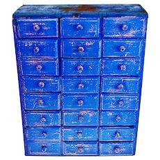 Antique Distressed Cobalt Blue 24 Drawer Cigar Box Apothecary Cabinet