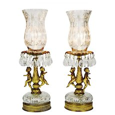 Hollywood Regency Cherub Prism Lamps - A Pair