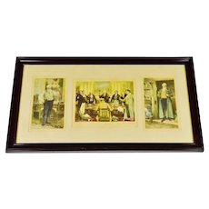 Early Morris & Bendien Framed Mezzogravure Prints - Signed