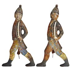 Vintage Hessian Soldier Figural Andirons - A Pair