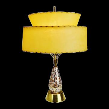 Mid Century Modern Ceramic Table Lamp w/ Atomic Style Fiberglass Lampshade