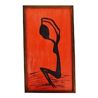 Vintage Framed Red & Black Abstract Figural Woman Oil on Canvas Painting - Artist Signed