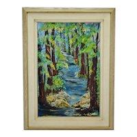 Vintage Framed Path in Forest Impasto Oil on Canvas - Artist Signed
