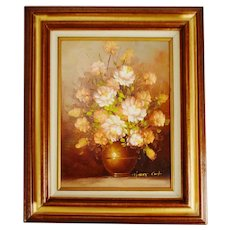 Vintage Framed Floral Still Life Oil on Canvas Painting by Robert Cox