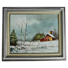 Vintage Framed Landscape Barn Scene Oil on Canvas Painting