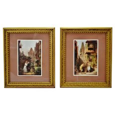 Vintage Framed Victorian Scene Windsor Art Prints - A Pair