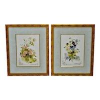 Vintage Framed Victorian Flower Prints - A Pair