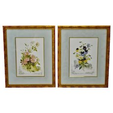 Vintage Framed Victorian Flower Prints - A Pair