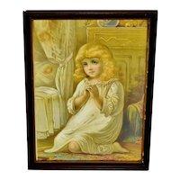 Antique Framed Victorian Girl Saying Bedtime Prayer Print