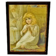 Antique Framed Victorian Girl Saying Bedtime Prayer Print