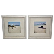 Vintage Framed Lin Seslar Beachscape Prints - A Pair