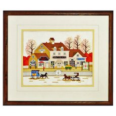 Vintage Framed Antique Style Storefront Country Scene Needlepoint Art