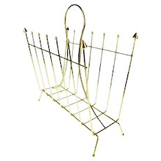 Hollywood Regency Brass Colored Metal Magazine Rack