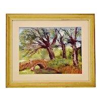 Vintage Framed Pastel Landscape Scene Drawing - Artist Signed